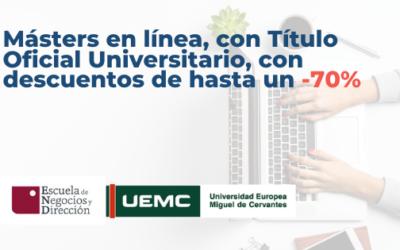 Másters en línea, con Título Oficial Universitario, con descuentos de hasta un -70%